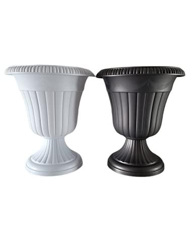 Macetas Plástico Grande para Interior Exterior   Únicos y Elegantes Maceteros Altos Jardineras Exterior Grandes (Negro)
