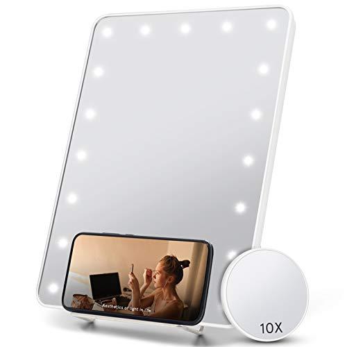 FASCINATE Espejo Maquillaje con Luz, Vanidad LED Espejo con Soporte para Teléfono, Aumento 10x, Espejo de Mesa Portátil, Atenuación, Suministro Doble, Espejo Pequeño Colgante