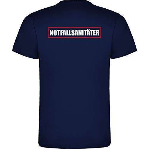 Notfallsanitäter Herren Men's T-Shirt Licht-reflektierende Folie Aufdruck L23 Navy Blue (L)