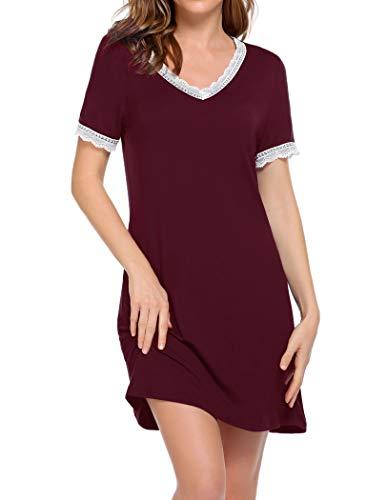Ekouaer Damen Nachthemd Kurzarm Nachtkleid V-Ausschnitt Sleepshirt mit Spitzendetail Nachtwäsche S-XXL