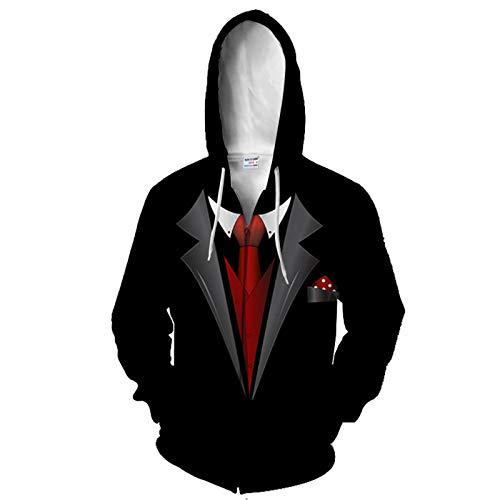 SLYZ Hombres Otoño Nueva Personalidad Impresión Digital 3D con Capucha Cremallera Suéter para Hombres