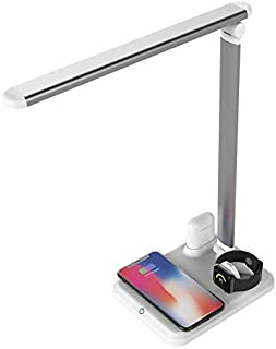Bedside Night Stand Lamp Wireless Charger Stand LED Desk Lamp,USB Charging Port, Fast Wireless Charging Station Compatible...