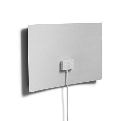 One For All DVB-T/DVB-T2 Indoor/Zimmerantenne – Full HD/HDTV Fernseher Ultraflache TV Antenne mit Verstärker - 0-25 km Reichweite – 3 meter Koaxialkabel - UHF/VHF - Schwarz/weiß - SV940