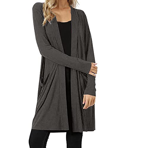 Womens Open Front Knit Cardigan Long Sleeve Oversized Sweater Front Fly Away Cable Boho Pockets Coat