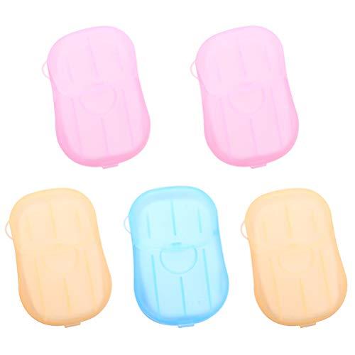 Healifty sapone da viaggio fogli di sapone 5pcs Dispenser di sapone monouso in carta di pulizia Mini Dispenser di sapone portatile con contenitore (Colore casuale)