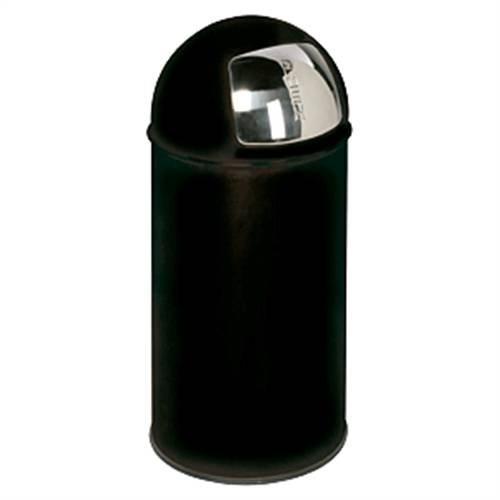 Afvalbak met inwerpklep, zwart, plaatstaal, Ø 35 cm, 74 cm hoog.