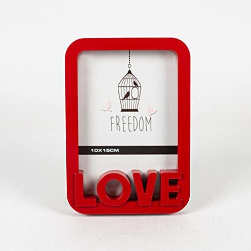 Golook • Cornice in Legno Portafoto Love 10x15 11x16cm • Idea Regalo • Amore Coppia Fidanzata Fidanzato • Da Scrivania • Porfafoto da Tavola • Rosso