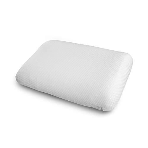 ABAKUHAUS Almohada para Dormir de Lado Anti-Ronquido con Funda Decorativa, Relleno Saludable Fresco al Tacto para Dormir Boca Abajo o de Espaldas Funda de Poliéster, 50 X 75 cm, Blanco