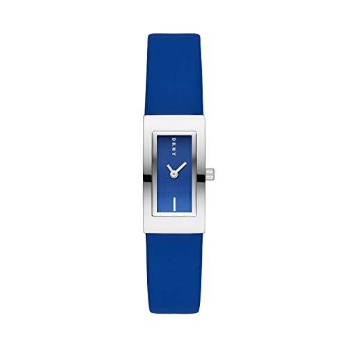 DKNY Downtown Reloj de cuarzo de acero inoxidable y cuero sintético para mujer