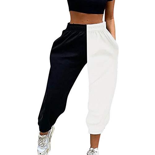 Ansenesna Damen Jogginghose Patchwork Gummibund High Waist Elegant Sporthose Frauen Lang Hoher Bund Locker Hose (Schwarz,M)