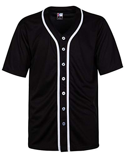 MOLPE Button Down Baseball Jersey (L, Black/White-1)