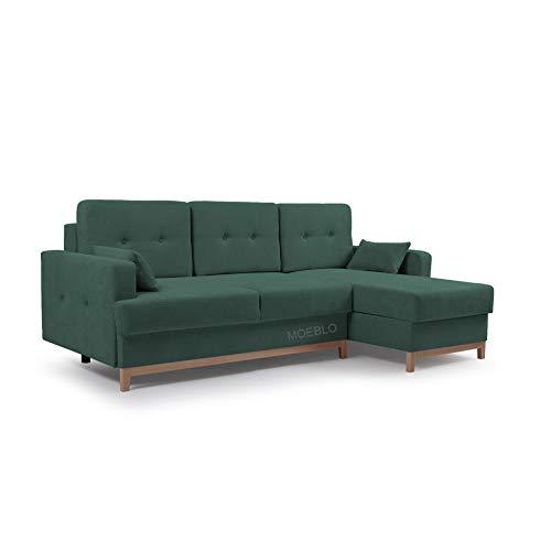 MOEBLO Ecksofa mit Schlaffunktion Eckcouch mit 2 X Bettkasten Sofa Couch L-Form Polsterecke Sophie (Dunkelgrün, Ecksofa Rechts)
