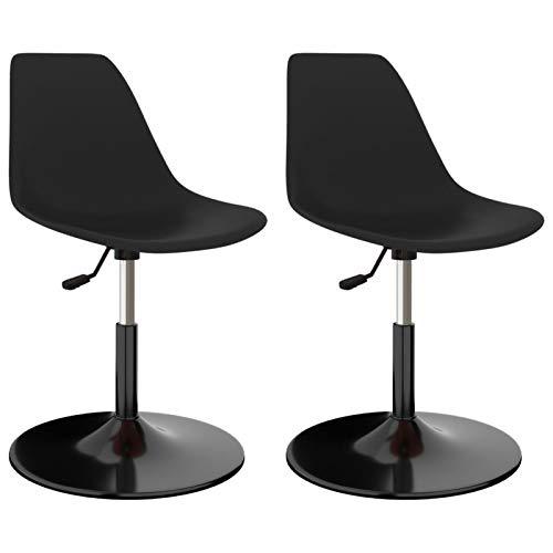 Tidyard Drehbare Esszimmerstühle 2 STK. Besucherstühle Küchenstuhl Essstuhl Stuhl-Set Schwarz PP