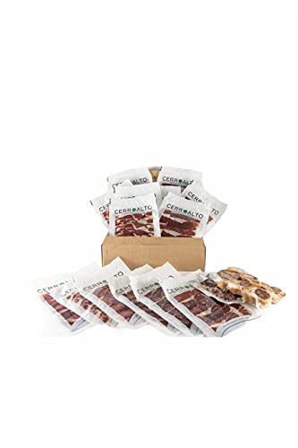 CERROALTO | Sobre de Jamon de cebo Ibérico 50% Raza Iberica 100 gr | Caja de 5, 10, 15 o 20 sobres de 100gr (10 SOBRES)