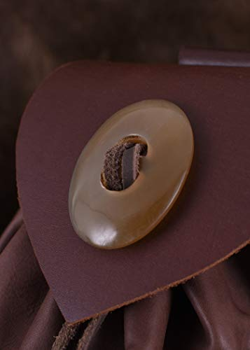 Geldbeutel mit Hornknopf, dunkelbraun Lederbeutel, groß Ledertasche – Wikinger – LARP – Mittelalter - 5