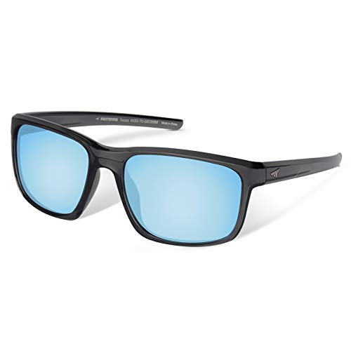KastKing Toccoa Polarized Sport Sunglasses for Men and Women, Gloss Smoke Crystal Frame, Smoke Base Ice Mirror