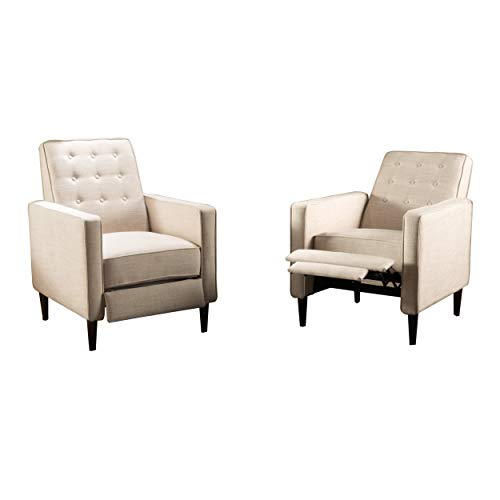 Christopher Knight Home Mervynn Mid-Century Modern Fabric Recliners, 2-Pcs Set, Wheat