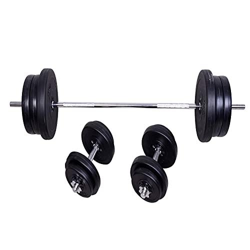 HOMCOM Juego de Pesas con Mancuernas y Barra Pesos Ajustables 2en1 con Discos para Culturismo Entrenamiento Fitness en Hogar Gimnasio Negro