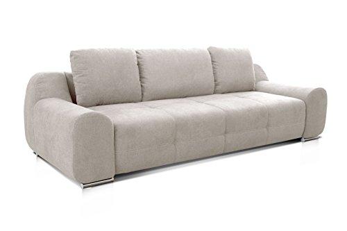 Cavadore Big Sofa Benderes / Schlafsofa mit Bettfunktion und Bettkasten/ Moderne Couch mit Steppung und Ziernaht / Inkl. 3 Kissen / Chromfüße / 266 x 70 x 102 (BxHxT) / Grau/Weiß