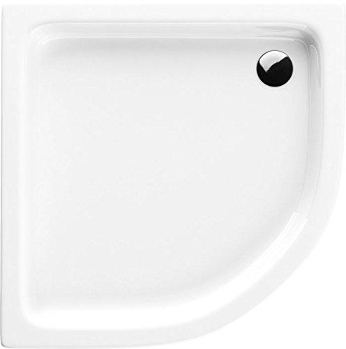 Acryl-Duschwanne 90x90x17 cm R55 Duschtasse Grando Plus Viertelkreis Duschkabine Styroporträger extra flach Sanitär-Acryl Duschbecken stabil weiß+ Viega Tempoplex (90x90x17 R55)