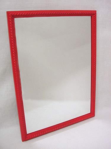 Espejo Pared Madera Cordon Mediano Rojo Horizontal Y Vertical