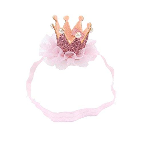 Longra Bébé Bandeau élastique Manteaux de Couronne de Fleurs (0 Mois à 3 Ans bébé, Rose)