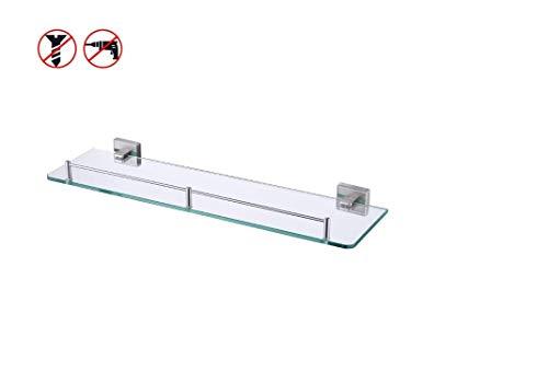 KES Glasablage Glasregal Duschablage Ohne Bohren 7 mm Hartglas Wandregal Badregal Glas Wandhalterung Aufbewahrung Gebürstet, A2420ADG-2