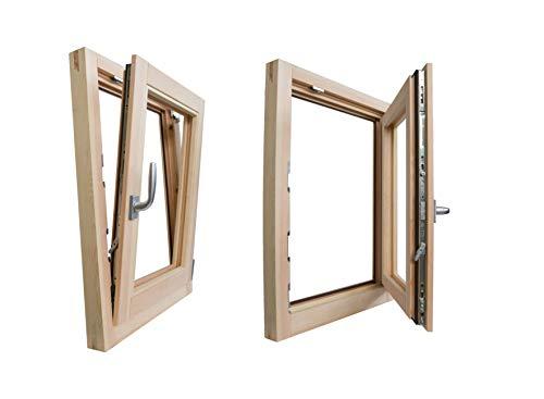 Ventana de madera laminada en bruto de 80 cm de largo x 80 cm de alto con batiente y rebalta – Doble cristal – Asa – Lijada – Listo...