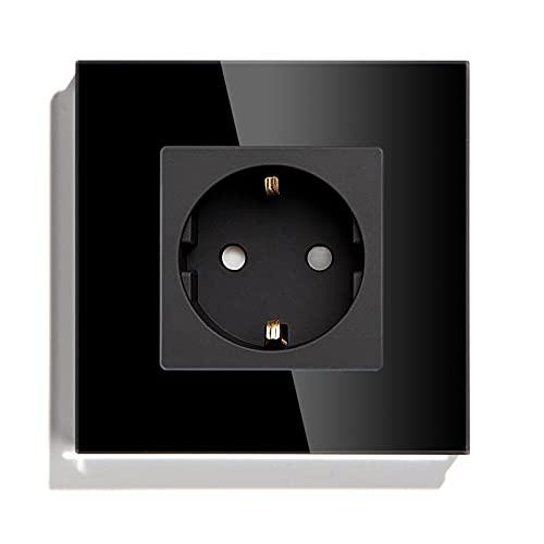 BSEED Zócalo Schuko 1 Vías Zócalo de Pared Simple Estándar de La Ue Placa de Cristal 16Amp 250V Zócalos de Extensión 86mm Negro