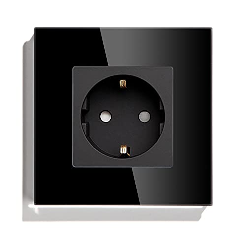 BSEED Enchufe de pared,Schuko Enchufe con Panel de cristal Negro,16A 250V toma de corriente,enchufes de extensión para Cocina, Dormitorio, Oficina, Hotel, etc