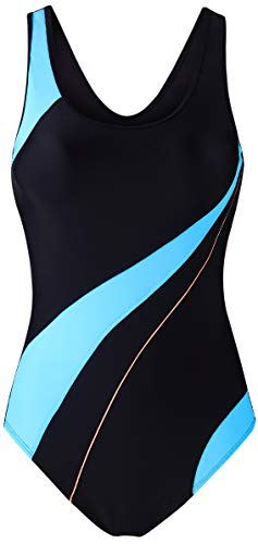 EBMORE Womens One Piece Swimsuit Bathing Suit Chlorine Resistant for Athletic Sport Training Exercise (US (16-18), Black & Light Blue)