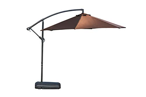 Festival Depot 9 Ft Outdoor Patio Umbrella Offset Cantilever Hanging Sun Umbrella with Hand Crank Without Base or Stand for Pool Porch Deck Market Lawn, Coffee