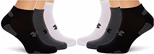 UA Cotton Heat Gear Tech No Show Cut Ankle Training Workout Athletic Socks 6 PAIR SPORT BUNDLE !! (Black/Grey/White)