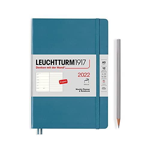 Leuchtturm1917 (363796) - Agenda semanal y cuaderno (tamaño mediano, A5, 2022), color azul
