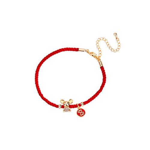 Holibanna Mouse Bracelet Chinese Style Zodiac Sign New Year Charm Bracelet Woven Bracelets Festive Wrist for Women Ladies Girls Men Gift (Money)