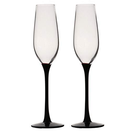 YUX Copas de champán, Cristal sin Plomo, Negro, se Pueden Utilizar para Vino espumoso, Vino de Postre, Vino