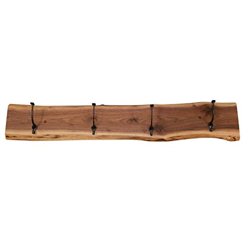 "Rustic Wood Live Edge Coat Rack – Wall Mounted Raw Edge Organizer with Wrought Iron Hooks – Floating Wood Slab Coat Hanger (48"" Long, Walnut Wood with Clear Coat)"