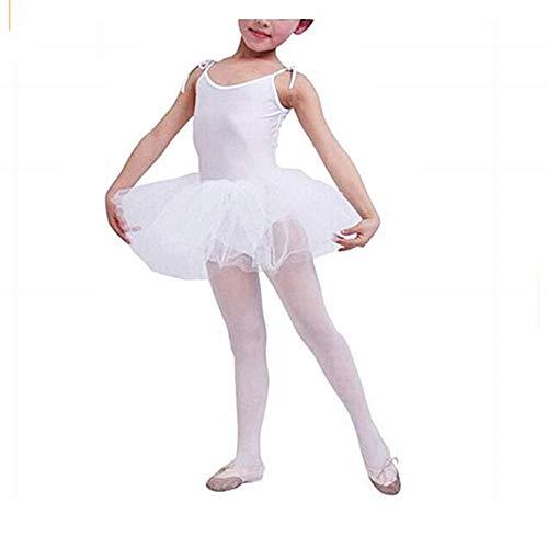 Lovelegis Tutú de Ballet clásico para niña - Blanco - Bailarina Corporal para niña - Ballet - Tirantes Ajustables - Falda - Tul de 3 Hilos - Talla 110 - Idea de Regalo de cumpleaños
