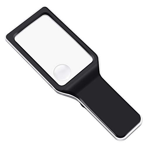 E-More Led-verlichte vergrootglas 3X & 6X rechthoekig vergrootglas handleesbril vervormingsvrije bril voor senioren, slechtzienden, boeken, tijdschriften, kranten en kaarten