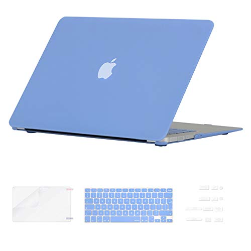 i-Buy Funda Dura Compatible con Old MacBook Air 13.3 Pulgadas 2010-2017(Model A1369 A1466)+ Teclado Cubierta + Protector de Pantalla + Enchufe del Polvo - Azul de Airy