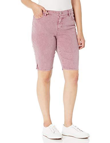 Gloria Vanderbilt Women's Petite Mid Rise Belted Jean Bermuda Short, Cotton Candy Rosedale, 12P
