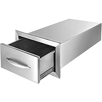 Mophorn 14x8.5 Inch Outdoor Kitchen Drawers Stainless Steel with Chrome Handle for BBQ, 14 x 8.5 x 23 Inch