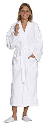 """ZOLLNER® Bademantel / Saunamantel / Morgenmantel mit Schalkragen unisex L weiß, 100 % Baumwolle in weiteren Größen erhältlich, direkt vom Hotelwäschespezialisten, Serie """"Miami"""""""