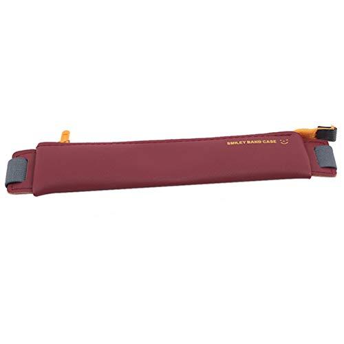 Toporchid Tragbare elastische Schnallenstifttasche aus Leder für Schulbüros Schulbedarf Schreibwarenzubehör (Weinrot)
