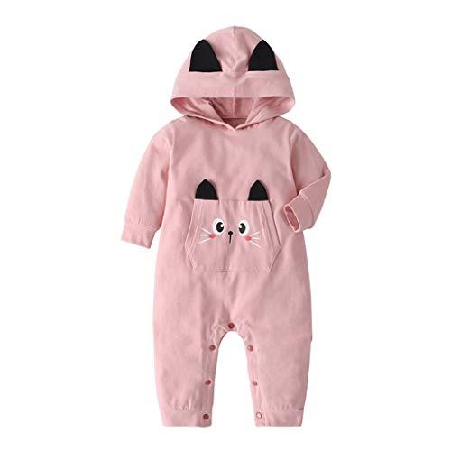 Anglewolf Baby Overall Jumpsuit Neugeborenes Mädchen Junge Niedlich Strampler Schneeanzug Outfits Spielanzug mit KapuzeKarikatur Onesies, 3-24 Monate(Rosa,74)