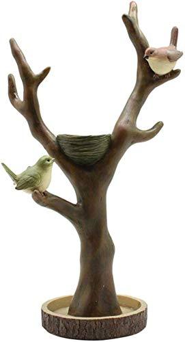 XiYou Estatua Adorno Escultura Estatua pájaro Rama Collar Collar Pendientes Reloj Estante de Almacenamiento artesanía de Escritorio de Resina