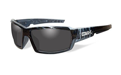 DVX Detour - ANSI Z87.1 - Grey Lenses/Black & White Streak Frame (OSHA Compliant Safety Glasses)
