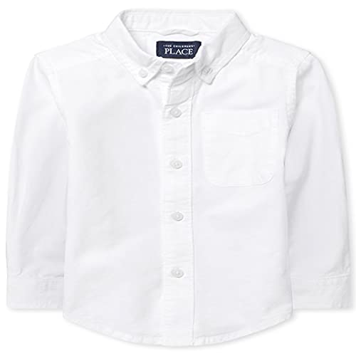 The Children's Place Baby Boys and Toddler Boys Long Sleeve Oxford Button Down Shirt, White, 3T