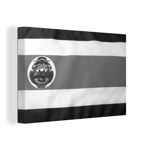 Leinwandbild - Foto der Flagge von Costa Rica - schwarz & weiß - 150x100 cm