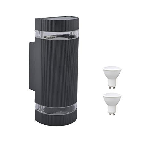 HLFVLITE Outside Wall Light, Aluminum Up & Down Outdoor Wall Lamp Lantern, IP44 Waterproof Garden Light, Black (Includes 2 * 5W 3200K Warm White Bulbs)